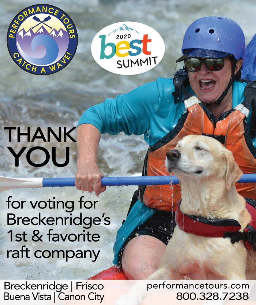 Performance Tours Rafting was voted Summit County's best rafting company for 10 years